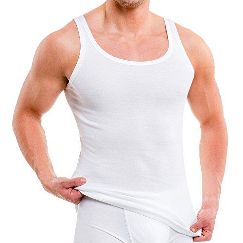 HERMKO 3000 5er Pack Herren Tank Top Classic Unterhemd - gekämmte Feinripp Bio-Baumwolle (glatt), Größe:D 6 = EU L, Farbe:weiß