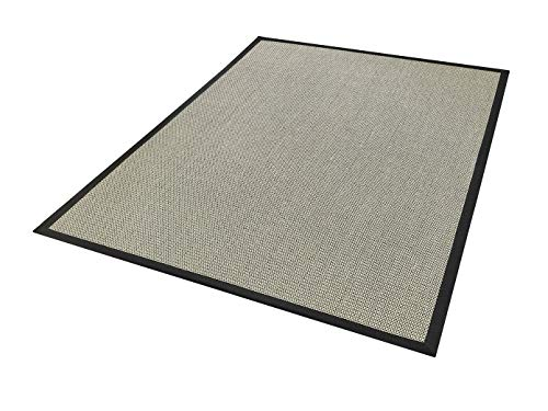 Dekowe Sisal Teppich Brasil S2 Schwarz mit Bordüre 133x190 cm