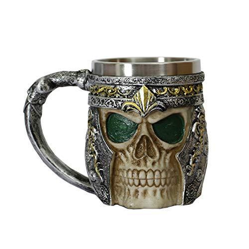 OTARTU - Taza de café con diseño de calavera gótica y cerveza, 13 onzas, forro de acero inoxidable, regalo único para hombres/niño amigo, regalo del día del padre, Verde...
