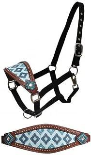 Showman Brown & Teal Navajo Diamond Print Bronc Halter w/Crystal Rhinestones! New Horse TACK!