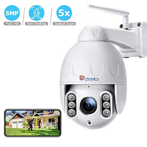 Ctronics 5MP Menschenerkennung WiFi Überwachungskamera, IP-Dome-Kamera bis 30m IR-Nachtsicht, Bewegungserkennung, IP 65 wasserdicht, Verwendung im Innen- und Außenbereich, Unterstützt SD-Karte