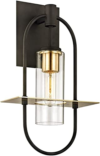 wholesale Troy Lighting B6392 Smyth - 17.5 Inch One Light Outdoor Wall sale Mount, Dark Bronze/Brushed Brass Finish 2021 with Clear Glass outlet sale
