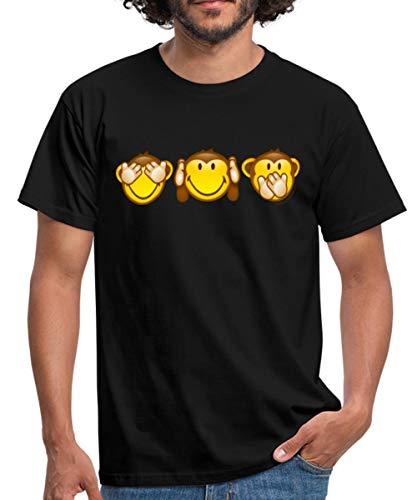 Smiley World Singes De La Sagesse T-Shirt Homme, XL, Noir