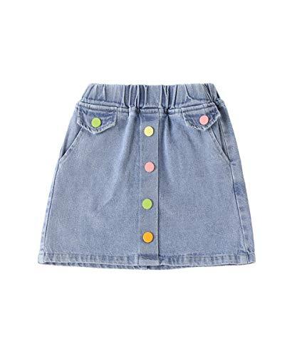 SHIBAOZI Toddler Little Girls Denim Skirt Elastic High Waist Pockets A-line Mini Skirt Summer Casual Outfits (#1 Blue, 7-8T)