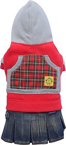 Doggy Dolly C080 hondenjurk jeans met fleece, rood, XXS Brust 26-28cm, Rücken 13-15cm