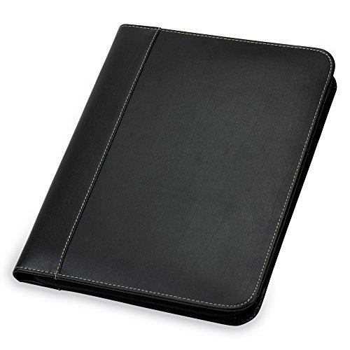 Samsill Contrast Stitch Leather Zipper Padfolio - Portfolio Folder/Business Portfolio for Men & Women - Resume Document Organizer, 8.5 x 11 Writing Pad