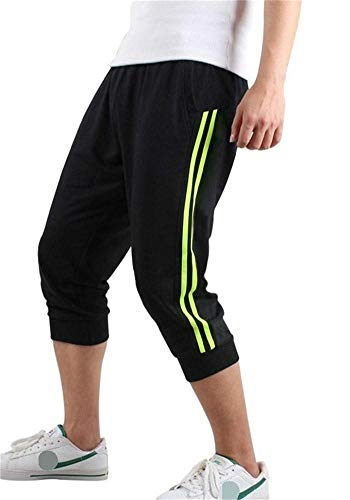 Hooleeger 3/4 Hose Herren Jogginghose Trainingshose Oversize Sporthose Capri Hose (L, Schwarz)