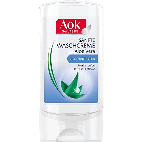 6 x AOK sanfte Waschcreme mit Aloe Vera jeweils 150 ml/ für alle Hauttypen/ reinigt sanft/ /Gesichtsreinigung/ entfernt Make-Up Rückstände