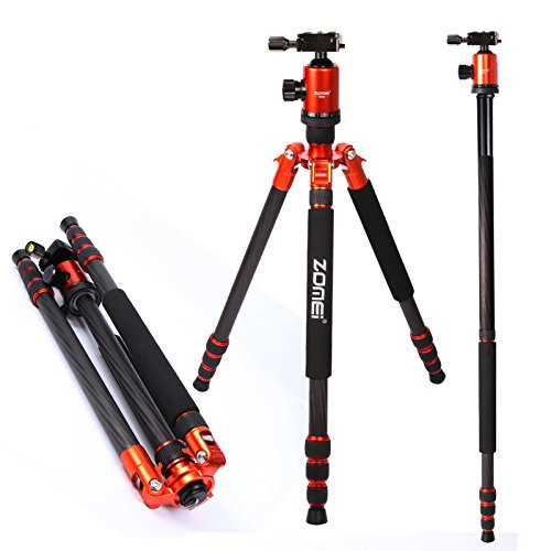 Zomei Professional Carbon Fiber Tripod with Ball Head Quick Release Plate Carrying Bag, Compact Travel for Canon Sony Nikon Samsung Panasonic Olympus Kodak Fuji Camera and Video Camcorder Orange