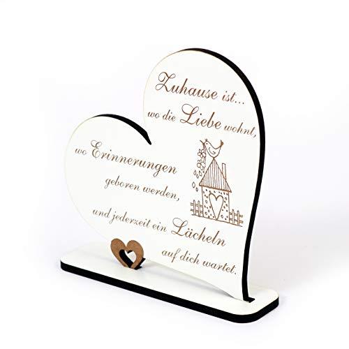 Dekoaufsteller Herz Schild Dekoschild Shabby Zuhause ist, wo die Liebe wohnt Aufsteller weiß Herzschild Holz Zimmerdeko