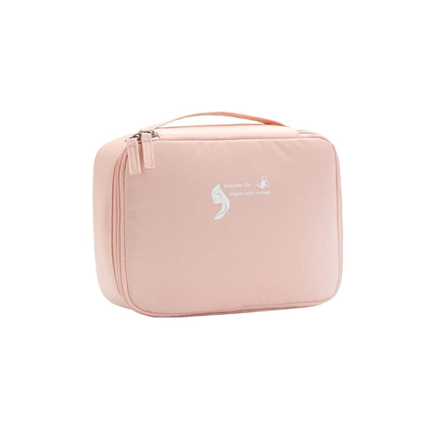女王答えアナウンサー化粧品のバッグ平方収納袋ポータブルストレージウォッシュバッグ化粧品トラベル収納袋 (Color : Pink)