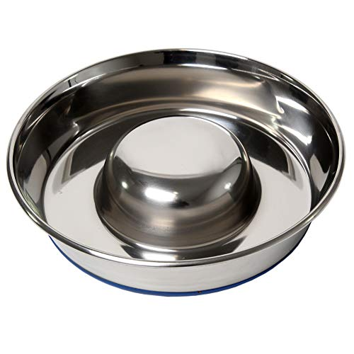 Durapet OurPets Slow Feed Premium Stainless Steel Dog Bowl, Silver, Large (2040010302)