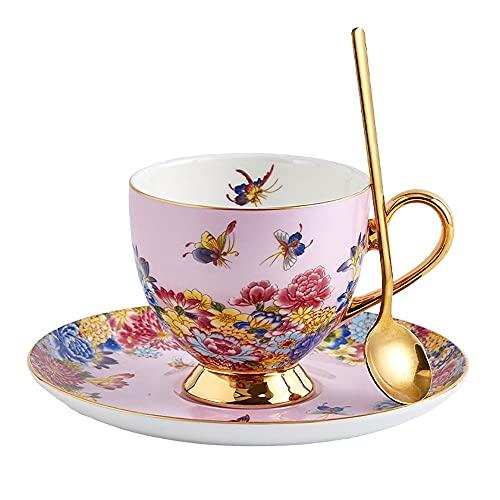 SXXYTCWL Taza de café y platillo Set Bone China Tarde Tea Tea Rojo Café Guirnalda Copa Inicio Oficina Latte Cappuccino Caramelo Macchiato Taza (Color : Rosado)