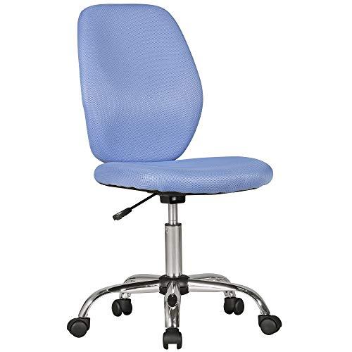 Amstyle Emma blauw vanaf 6 met rugleuning draaistoel kinderbureaustoel ergonomisch | jeugdstoel in hoogte verstelbaar | kinderbureaustoel zonder armleuning, stof, 64 x 94 x 47 cm