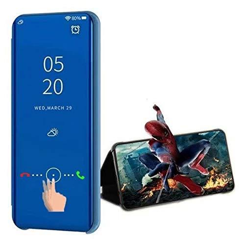 XJZ Compatible para Samsung Galaxy S6 Funda(Azul)+3D Vidrio Templado Pantalla Protector/Carcasa Flip Smart Translúcido Standing Soporte Caja Ultra Fina Suave+Duro Antigolpes Espejo Libro-2017