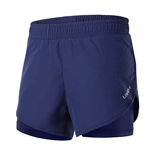 Lixada 2-in-1-Laufhose für Damen Schnell trocknend Atmungsaktiv Aktiv-Training Jogging-Radsport-Shorts mit längerem Innenschuh (Women Dunkelblau, M)