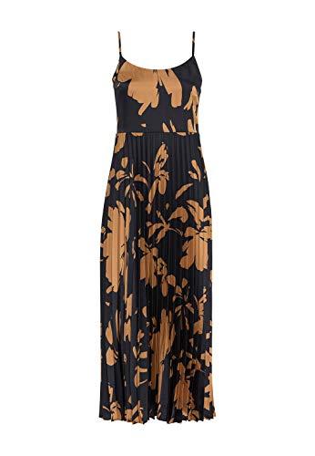 HALLHUBER Plisseekleid mit Maxi-Blumenprint ausgestellter Schnitt schwarz, 34