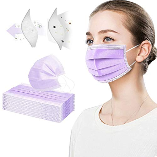 Ecnobia 3 Ply Non-Woven, 100Pcs Disposable Face Bandanas, Cloth Covering, No Washable, Breathable and Anti-Haze Dust, for Adults - Purple (Without Packing Box)