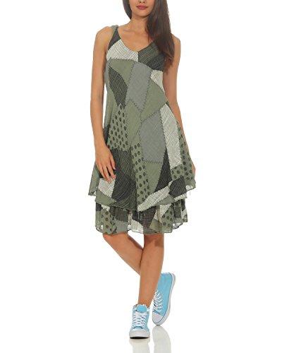 ZARMEXX Damen Sommerkleid Strand Kleid Patchwork-Print Ärmellos doppellagig A-Linie Armee One Size (36-40)