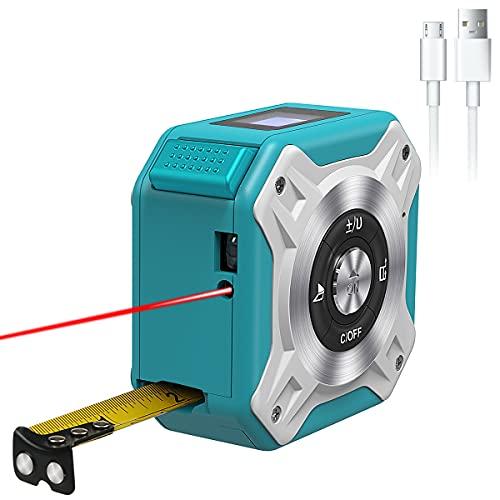 Laser-Entfernungsmesser,40-Meter-Lasermessgerät und 5-Meter-Maßband 2-in-1, LCD-Display,2 Laseröffnungen,wiederaufladbares USB-Laser Entfernungsmesser, automatische Kalibrierung und Abschaltung