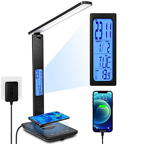 LED Desk Lamp, Desk Lamp with Wireless Charger, Suitable for Home, Office Dimmable Desk Lamp, with USB Charging Port, Built-in Clock, Calendar, Thermometer and Automatic Timing Reading Desk Lamp.