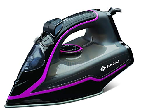 Bajaj MX-35N 2000W Steam Iron with Steam Burst, Anti-Drip and Anti-Scale Technology, Vertical and Horizontal Ironing, Non-Stick Coated Soleplate, Black and Pink