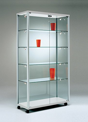 Vitrina expositora con cerradura, diseño amplio iluminado, vitrina de venta, cristal, coleccionista, candado, patas estrechas y altas, 100 x 40 cm, espejo trasero