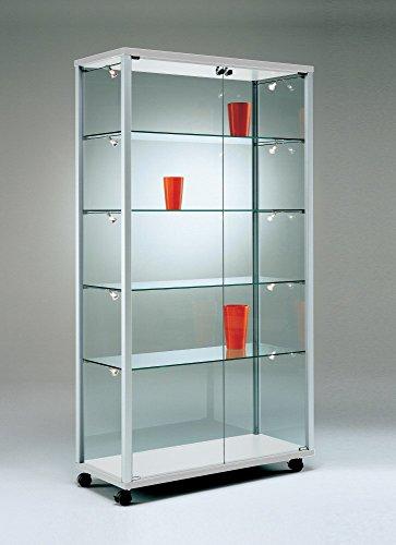 Ausstellungsvitrine abschließbar Glasvitrine breit beleuchtet Design Verkaufsvitrine Glas Sammler Messe Schloss schmal hoch rollbar 80 x40 cm