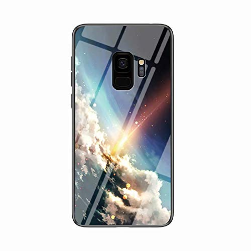 Miagon Galaxy S9 Glas Handyhülle,Himmel Serie 9H Panzerglas Rückseite mit Weicher Silikon Rahmen Kratzresistent Bumper Hülle für Samsung Galaxy S9,Wolke