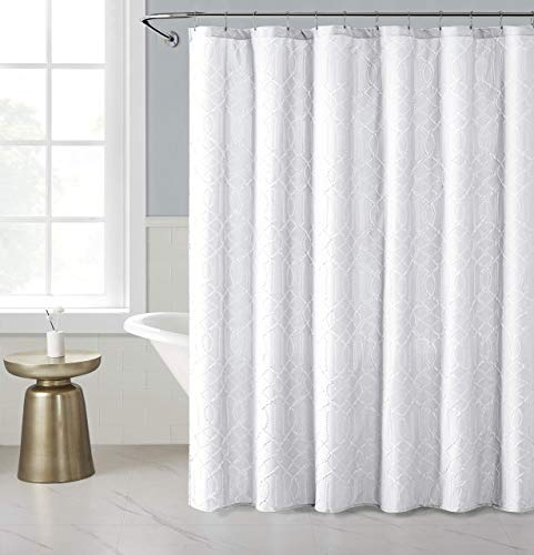 OWENIE White Shower Curtain for Bathroom, 3D Embossed Geometric Polyester Fabric, Innovative Design, 72 x 72 Inch