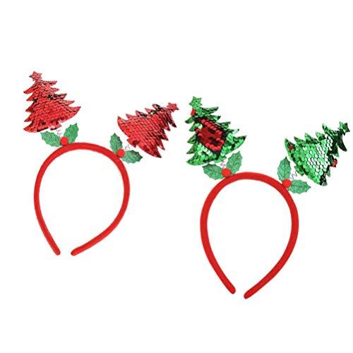 ABOOFAN 2 Piezas Diadema de Árbol de Navidad Lentejuelas Cabeza de Navidad Boppers Aro de Pelo Tocado Sombrero Navidad Cosplay Disfraz para Mujeres Niñas