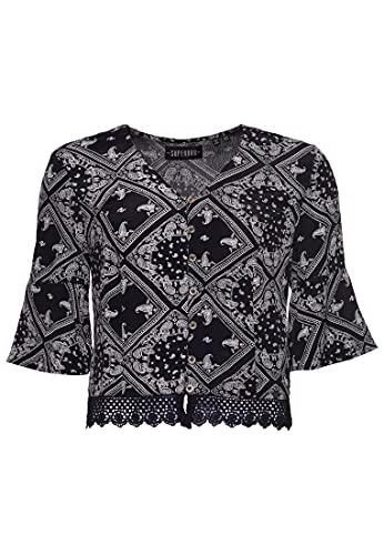 Superdry Sunny Lace Top Blusa, Negro (Black AOP Yfc), S (Talla del Fabricante:10) para Mujer