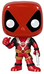 From the Marvel Universe, Thumbs Up Deadpool, as a stylized POP vinyl from Funko! Stylized collectable stands 3 3/4 inches tall, perfect for any Deadpool fan! Collect and display all Deadpool Pop! Vinyls!