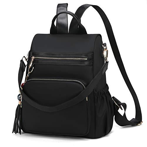 WindTook Damen Rucksack Anti-Theft Handtaschen Umhängetasche Schultertasche Nylon Medium für Schule Büro Alltag, 2 in 1 als Rucksack und Schultertasche, 29 x 13 x 32 CM, Schwarz