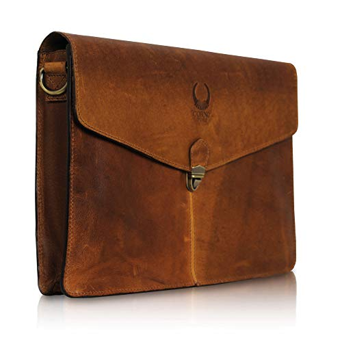 Kleine Umhängetasche Leder Herren und Damen I Schultertasche für 13 & 14 Zoll Laptop I Ledertasche braun als A4 Aktenmappe Corno d´Oro MB09