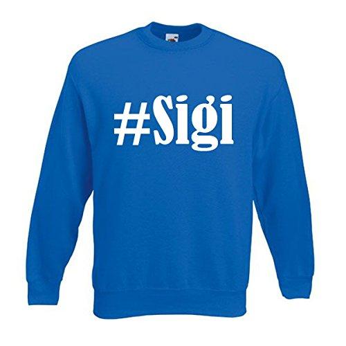 Reifen-Markt Sudadera Hashtag #Sigi para mujer, hombre y niños en los colores negro, blanco y azul con impresión azul 140 cm