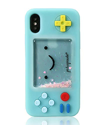 UnnFiko Squishy 3D Cartoon Game Case Compatible with iPhone 7 / iPhone 8, Creative Liquid Stars Funny Play Case Soft Rubber Protective Cover for Girls Women (Blue, iPhone 7/8/ SE 2020)