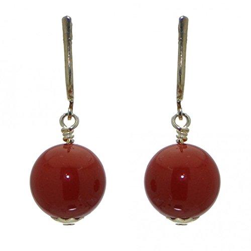 LINDSEY 12mm Orecchini a clip corallo rosso placcato argento
