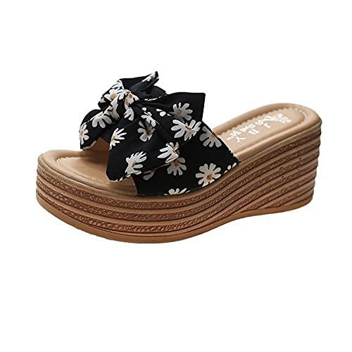 ypyrhh Sandalias al aire libre Playa Piscina Pantuflas Redonda Cabeza Pequeña Margarita Estampado Pantuflas Palabras Zapatos Mujer Negro_36, Ducha Playa & Piscina