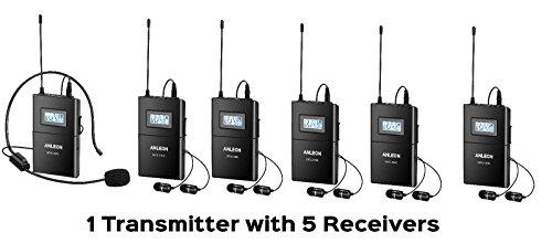 ANLEON MTG-100 Sistema de micrófono inalámbrico Sistema de transmisión digital y receptor digital para visitas guiadas, conferencias, traducción simultanea, 1 Transmisor + 5 Receptor
