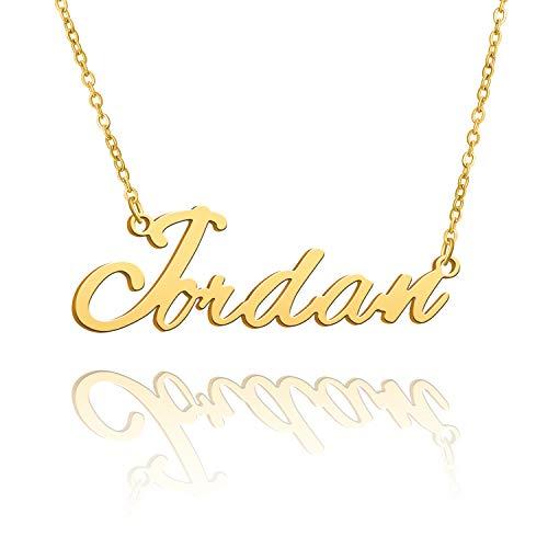 BUREI Collana con Nome Personalizzato da Donna Collana con Pendente Placcato Oro 14k Regali per Jordan