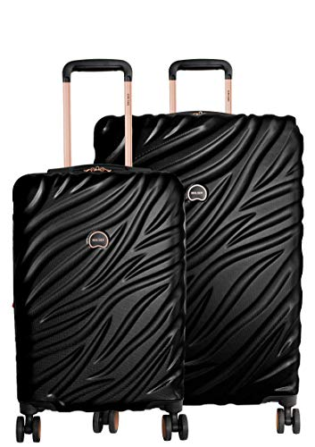 Delsey Alexis Lightweight Luggage Set 3 Piece, Double Wheel Hardshell Suitcases, Expandable Spinner Suitcase with TSA Lock and Carry On (Black/Rose Gold, 2-piece Set (21'/25'))