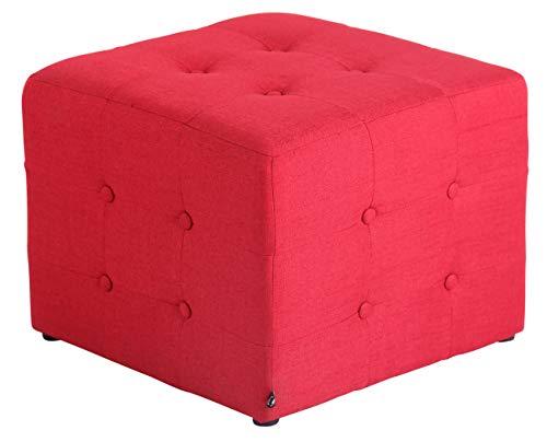 CLP Pouf Poggiapiedi Divano Salotto Melbourne in Stoffa I Puff Soggiorno Quadrato Design Chesterfield Morbido E Imbottito, Colore:Rosso