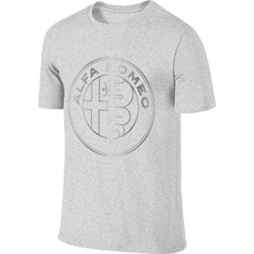 KAMEOR Men's Designed Breathable Tee Shirt Alfa Romeo Metallic Grey Logo Tshirt