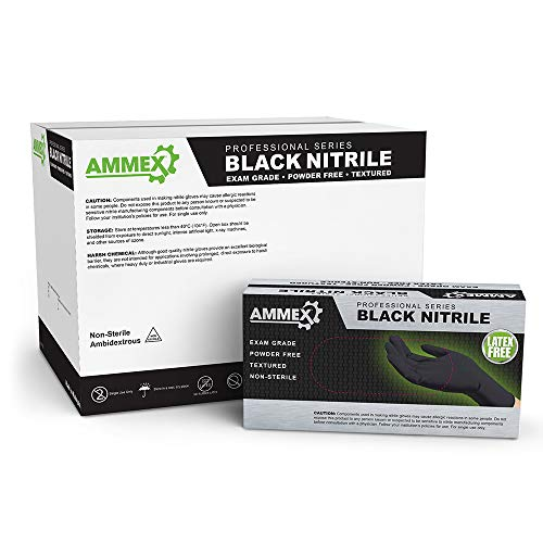 AMMEX Medical Black Nitrile Gloves, Case of 1000, 4 mil, Size Large, Latex Free, Powder Free, Textured, Disposable, Non-Sterile, ABNPF46100