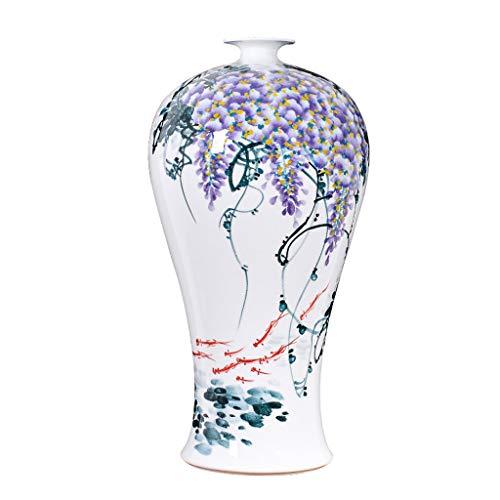 Maceta Chino blanco florero de cerámica con el soporte, cola de pescado grande florero, florero de...