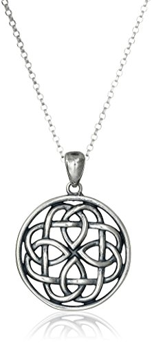 Sterling Silver Oxidized Celtic Knot Medallion Pendant Necklace, 18'