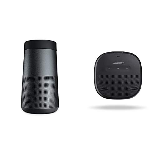 The Bose SoundLink Revolve, The Portable Bluetooth Speaker with 360 Wireless Surround Sound, Triple Black & Bose SoundLink Micro, Portable Outdoor Speaker, (Wireless Bluetooth Connectivity), Black