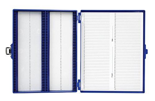 Heathrow Scientific HD15994M Blue Foam Lined 100 Place Microscope Slide Box, 8.25' Length x 7' Width x 1.3' Height