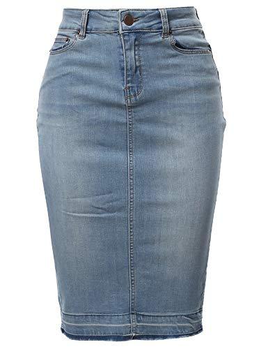 A2Y Slim Fit Rayon Knee Length Back Slit Denim Jean Pencil Skirt Light Navy M